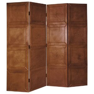 Global Views Brown Leather 4-Panel Screen